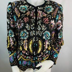 Vintage Lawerence Kazar Sequined Embellished Top